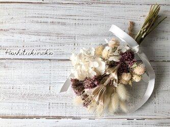 星月猫★フジバカマとニゲラオリエンタル ホワイトアナベルのミニスワッグ ドライフラワー花束の画像
