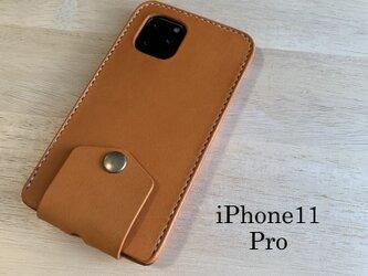 【新作】iPhone11Pro カバー ケース 【刻印名入れ・選べる革とステッチ】の画像