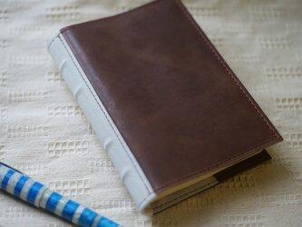 洋古書風のブック・ブックカバー/ブラウン×ホワイトの画像