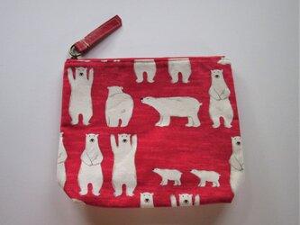 白クマくんのポーチ(赤)の画像
