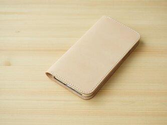 牛革 iPhone 11 Pro Max カバー  ヌメ革  レザーケース  手帳型  ナチュラルカラーの画像