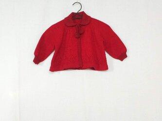 昭和レトロ 機会編み 子供用カーディガン あかの画像
