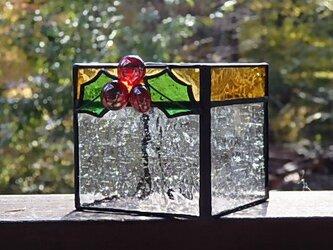 ステンドグラス Christmas Holly Candle Holderの画像