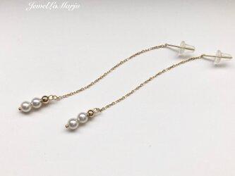 【再入荷】K10 高品質 輝く あこや真珠 ベビーパール アメリカン ピアスの画像