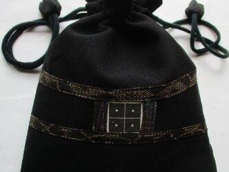 4465 黒の羽織で作った巾着袋の画像