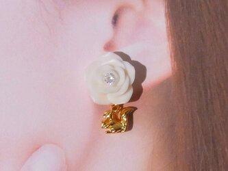 白薔薇 K16GP リスチャーム ピアス イヤリング ポリマークレイ Czダイヤ[送料無料] ㉛の画像
