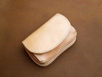 本革サドルレザーのミニボックス折財布【受注製作】の画像