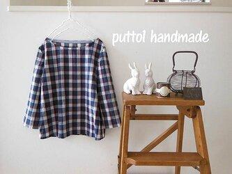 受注生産☆上品♪イタリア製のコットンチェックのボートネックシャツの画像