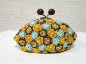 ビーズモチーフ編みポーチの画像