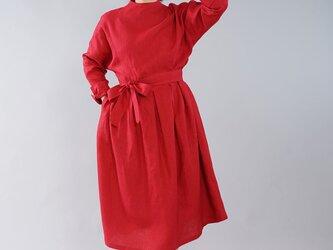 【wafu】中厚 リネンワンピース レイズド ネックライン 長袖 ドレス 紐付き / レッド a048c-red2の画像