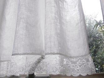 リネンとスカラップレースのカーテン*@リボン*の画像