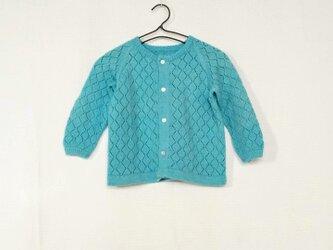 昭和レトロ 機会編み 子供用カーディガン みずいろの画像