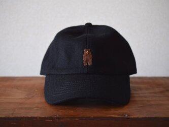 ウールキャップ 黒×ヒグマの画像