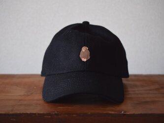 ウールキャップ 黒×サルの画像
