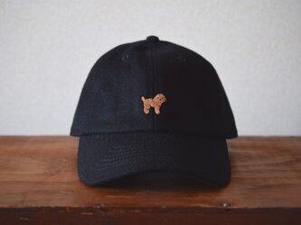 ウールキャップ 黒×トイプードルの画像
