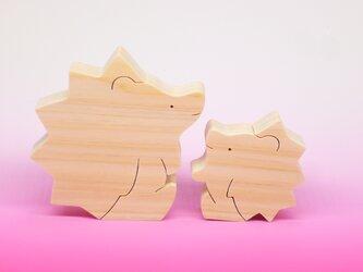 送料無料 ヒノキの組み木 ハリネズミの親子の画像