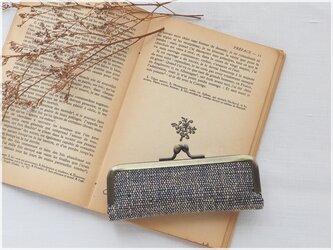 ■手紡ぎ、手織りシルク・リネンのがま口印鑑ケース 【Lサイズ】 / ae■ hanko case (L-gmi-ae)の画像