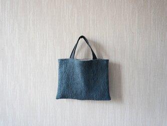 裂き織りのちょっとそこまでバッグ  藍色の画像