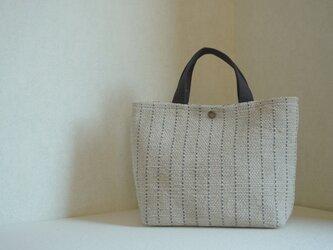 裂き織りのバッグM サンドグレー ストライプの画像