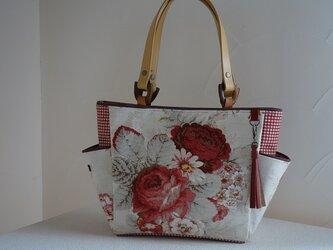 ロ様ご依頼品:サイドポケットバッグS(輸入生地アメリカ:ウェバリーNorfolk Rose)の画像