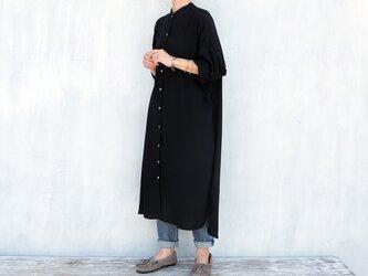 レーヨンスタンドカラーシャツワンピース(ブラック)の画像