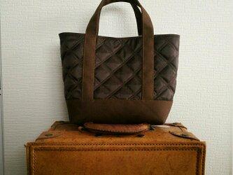 チョコナイロンキルトx帆布のトートバッグSの画像