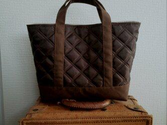 チョコナイロンキルトx帆布のトートバッグmの画像