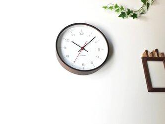 KATOMOKU plywood clock 16 km-105BRC ブラウン 電波時計 連続秒針の画像