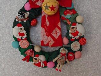 布製クリスマスリースの画像