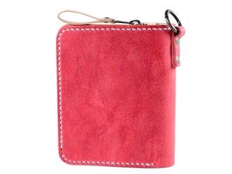 大きなカードポケットの二つ折りのお財布(バーミリオン)の画像