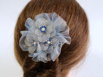 ウエディングの髪飾り サムシングブルーの画像