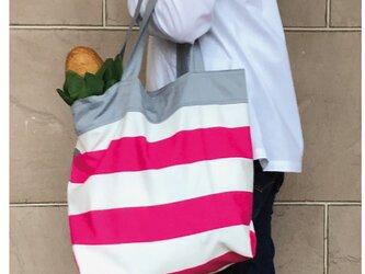 コンパクト おかいのもかばん ピンク✖️グレイボーダーの画像