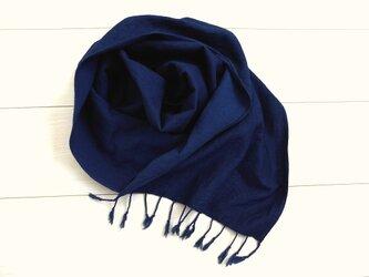 ◆100%自然素材 天然灰汁発酵建て 本藍染◆ 竹布コットンロングストールの画像