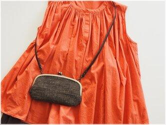 ■親子がま口のお財布ショルダー/ 手紡ぎ、手織りシルク・コットン■ mimi (gmi-bka)の画像