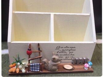 【動物が選べる*木製文具ケース】410…ナチュラルインテリア 小物入れ うさぎ ぶた リス ペン立て ペンスタンド 道具の画像