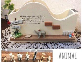 【動物が選べる*木製テープカッター】627…ナチュラルインテリア ミニチュア アルパカ シマウマ ゾウ スカンクの画像