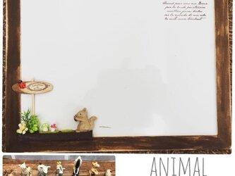 【動物が選べる*ホワイトマグネットボード】58…ナチュラルインテリア 知育 スケジュール うさぎ マグネット ミニチュアの画像