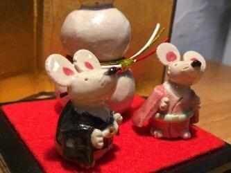 鏡餅と干支のお飾り 2020年 令和2年 子年 ネズミ ねずみ お正月 鏡餅 玄関飾りの画像