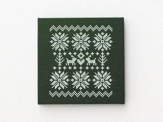 ノルディック柄のファブリックパネル M-506◆濃緑/白の画像