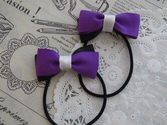 ★ハロウィン・りぼん★ 紫と黒のダブルリボンのヘアゴムの画像