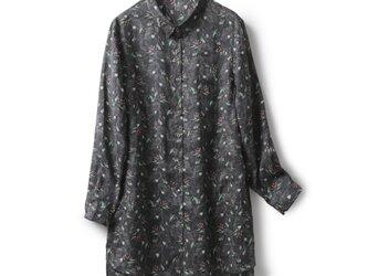 ★4周年記念キャンペーン★リネン100% オリジナル花柄 長袖ロングシャツ チュニック191008-1の画像