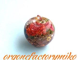 幸運 愛情 オレンジ 六芒星 幸運メモリーオイル入り りんご オルゴナイトの画像