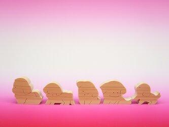 送料無料 ヒノキの組み木 5匹のシーズーの画像