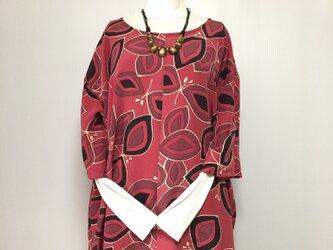 正絹 ゆったりチュニック 七部袖 着物リメイクの画像