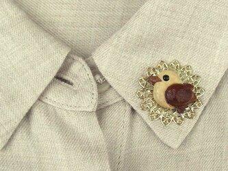 襟に小鳥のブローチAの画像