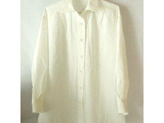 上質のベルギーリネンの白いシャツ(3)の画像