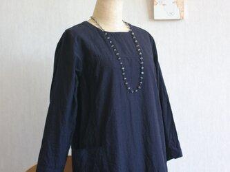 久留米絣墨色七分袖ワンピースの画像