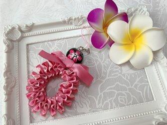 ハワイアンリボンレイ【ダブルプルメリアストラップ ピンクX濃いピンク】完成品の画像