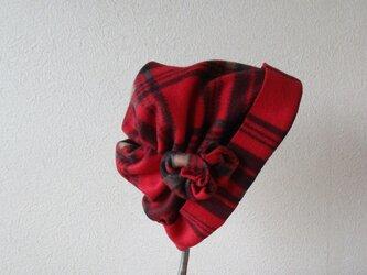 フリース暖かキャップ 赤の画像
