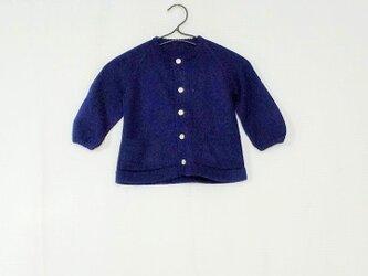 昭和レトロ 機会編み 子供用カーディガン こんの画像